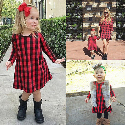 US Stock Cotton Baby Kids Girl Dress Checked Party Princess Formal Dresses Skirt