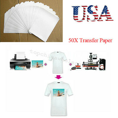 Compact 50 Sheets A4 Inkjet Heat Iron On Transfer Paper for Light Color Fabrics