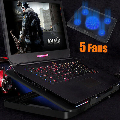 """5 Fans LED USB Adjustable Height Stand Pad Cooler For Laptop Notebook 11""""-17"""" CA"""