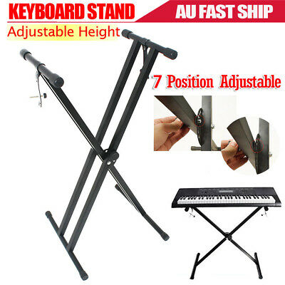 Keyboard Stand Height Adjustable Folding Music Piano Holder Double Braced X Type