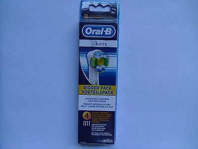 Braun Oral-B 3D WHITE Electric Toothbrush Replacement Brush Heads 4 Pack