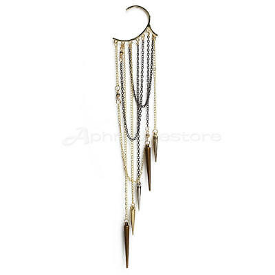 Cool Rock Punk Rivets Spike Long Tassels Ear Cuff Wrap No Piercing Earring New