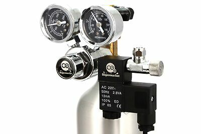 CO2 Regulator with Solenoid & Dual Gauges for Horizontal Cylinder Valves