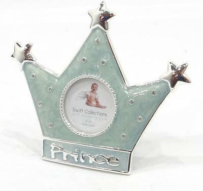 "Collectable ""prince Crown"" Frame Blue Enamel & Silver 5X5 Photo Frame Beautiful"