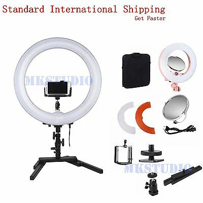 "14"" Dimmable Diva LED Ring Light + Desktop Stand for Video Make Up Selfie Kit"