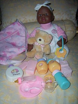 Doll Zapf Creations Rock A Bye Black Brown Baby Annabell Laughs Drinking Bottle