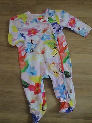 Girls Ted Baker Size 3 - 6 Months Floral Sleepsuit Romper All In One Excellent