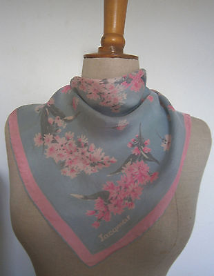 VINTAGE 1960s JACQMAR SILK SCARF PINK & SILVER FLORAL PRINT HAND ROLLED EDGE