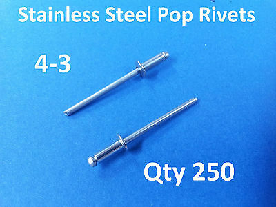 """250 POP RIVETS STAINLESS STEEL BLIND DOME 4-3 3.2mm x 8mm 1/8"""""""