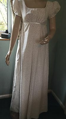 Regency Dress, Jane Austen, Floral Cotton, Fully Lined, Size 8, Free P&P