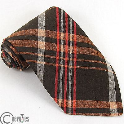 Cravatta SEVERIN VINTAGE 60 Marrone Arancione Tartan 100% Seta Made in Italy Tie
