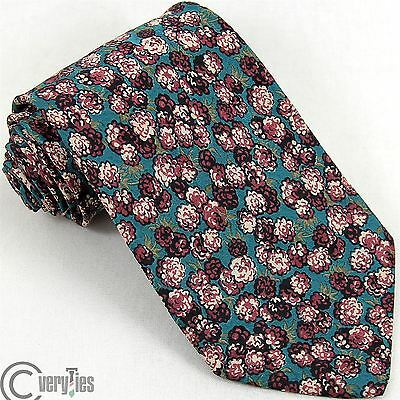 Cravatta CABRON Turchese Bordeaux Floreale 100% Seta Made in Italy Tie