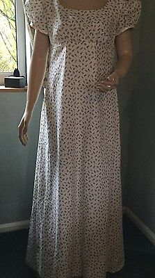 Regency Dress, Jane Austen, Rosebuds Cotton, Fully Lined, Size 12, Free P&P