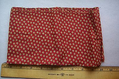 Vtg Antique 19c  Cotton Calico 1800's Fabric Quilt Dress Turkey Red/Chrome