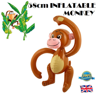 58cm INFLATABLE MONKEY Blow Up Toy Kids Party Animal Jungle Fun Fancy Dress Play