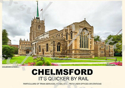 Vintage Style Railway Poster Chelmsford Essex A4/A3/A2 Print