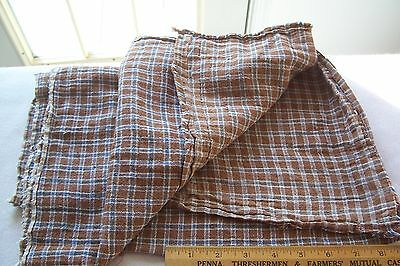 Antique Vtg 19th Century Woven Check Cotton gingham Fabric PRIMITIVE WOODEN DOLL