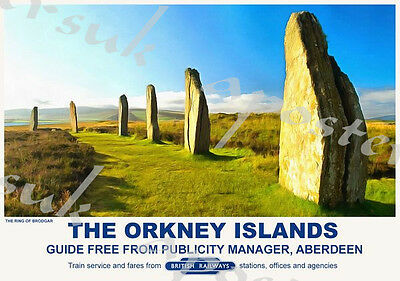 Vintage Style Railway Poster Orkney Islands A4/A3/A2 Print