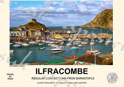 Vintage Style Railway Poster Ilfracombe A4/A3/A2 Print