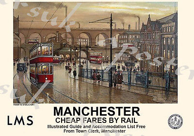 Vintage Style Railway Poster Manchester Tram A4/A3/A2 Print