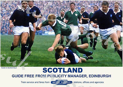 Vintage Style Railway Poster Scotland Murrayfield Rugby A4/A3/A2 Print