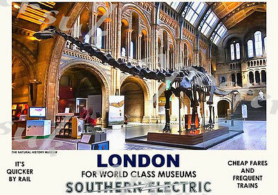 Vintage Style Railway Poster London Natural History Museum A4/A3/A2 Print