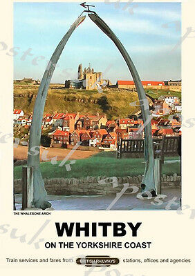 Vintage Style Railway Poster Whitby Whale Arch  A4/A3/A2 Print