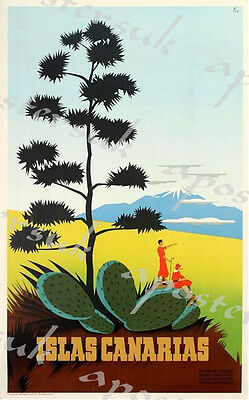 Vintage Canary Islands Tourism Poster 2 A3/A4 Print