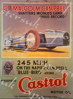 Vintage Malcolm Campbell Bluebird Castrol Oil Advertisement Poster A3/A4 Print