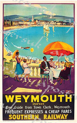 Vintage Southern Railways Weymouth Railway Poster A3/A4 Print