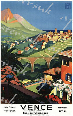 Vintage Vence Nice French Tourism Poster A3/A4 Print