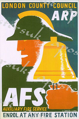 Vintage World War Two ARP Air Raid Warden Poster A3//A2//A1 Print