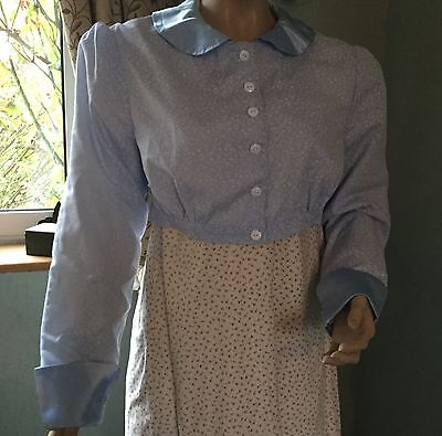 Regency Spencer, Jane Austen, Cotton & Satin, Pastel Blue, Size 12, Free P&P