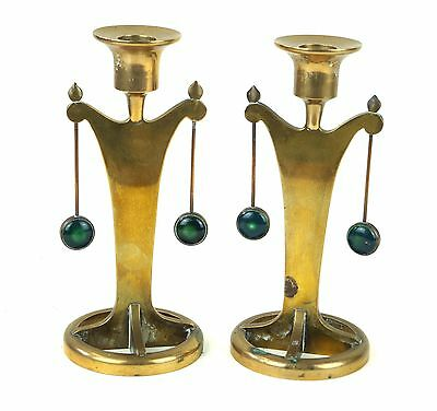Rare Pair of Arts & Crafts Bronze Candle Holders with Green Ceramic Roundels
