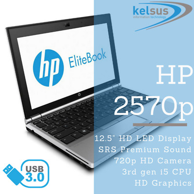 3rd Gen Core i5 HP EliteBook 2570p Laptop 2.8GHz 4GB 8GB 16GB HDD SSD Windows 10