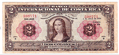"Costa Rica P167 ""Mona Lisa"" 2 Colones 1934 Raw Vf ""Michael Angelo"" Masterpiece"