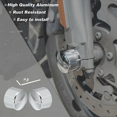 Chrome Front Axle Nut Covers Fit For Harley VRSC 08-later Touring Softail Dyna