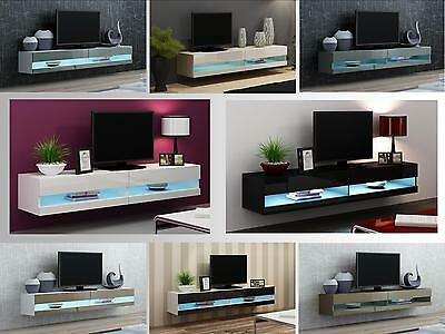 High Gloss TV Stand Cabinet with LED Lights | Entertainment Floating Wall Unit