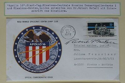 s1516) Raumfahrt Apollo 16 Start Houston 16.4.1972  Autogramm OU Robert McCall