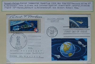 s1518) Raumfahrt Space special cachet 2 stamps signed by Robert McCall Autogramm
