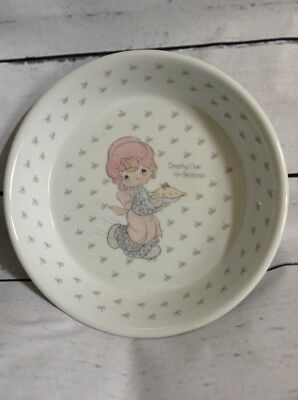 Enesco Precious Moments Dropping Over For Christmas Pie Plate 1986 with box