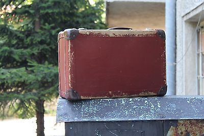 Antique suitcase, Red suitcase, Vintage suitcase, Vintage travel suitcase