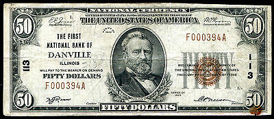 1929 $50 First National Bank Of Danville, Il National Currency Ch. #113