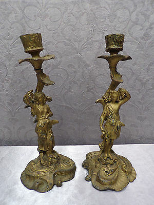 """French Antique 11"""" Tall Pair Of Gilt Cast Iron Bacchus Candlesticks"""