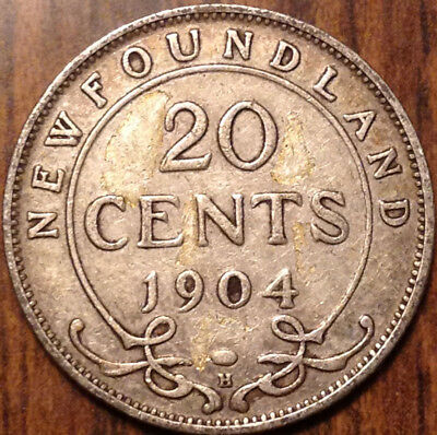1904 Nfld Newfoundland Silver 20 Twenty Cents In Good Condition