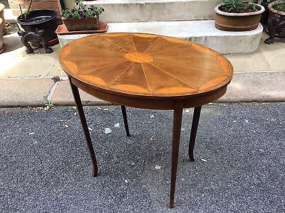 Edwardian Oval Occasional Table with Shaped Fan Inlay