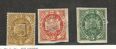 Bolivia, Postage Stamp, #55-57 Mint Hinged, 1899