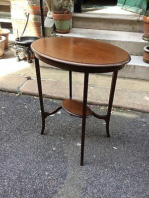 Edwardian Mahogany Oval Occasional Table with Under Tier