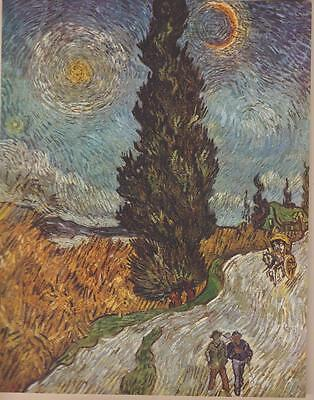 Vincent van Gogh Road With Cypresses Painted 1890 Saint Rémy Art Print From Book