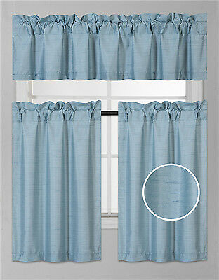 KITCHEN COLLECTION SET WINDOW DRESSING CURTAIN SOLID BLACKOUT 3PC K3 BRICK RUST